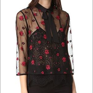 The Kooples Sheer Floral Blouse B&R  [SIZE 2]